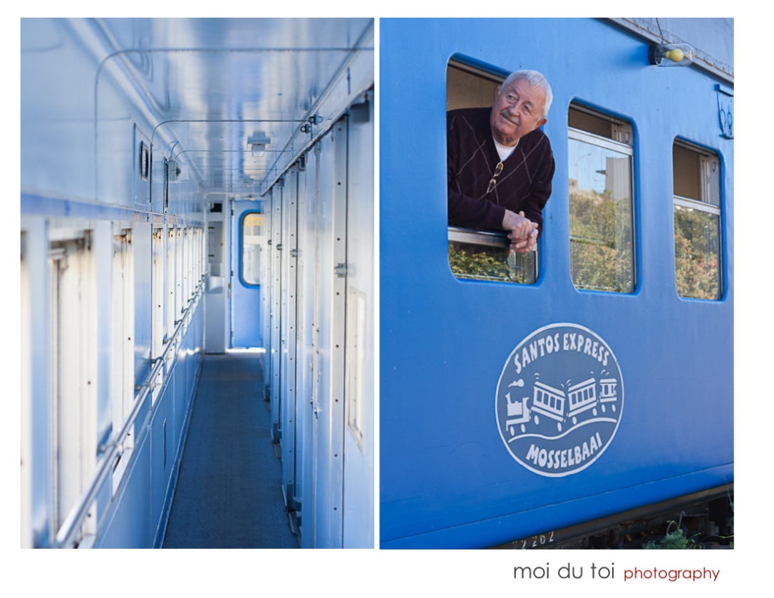 Man hanging out of the window of blue train