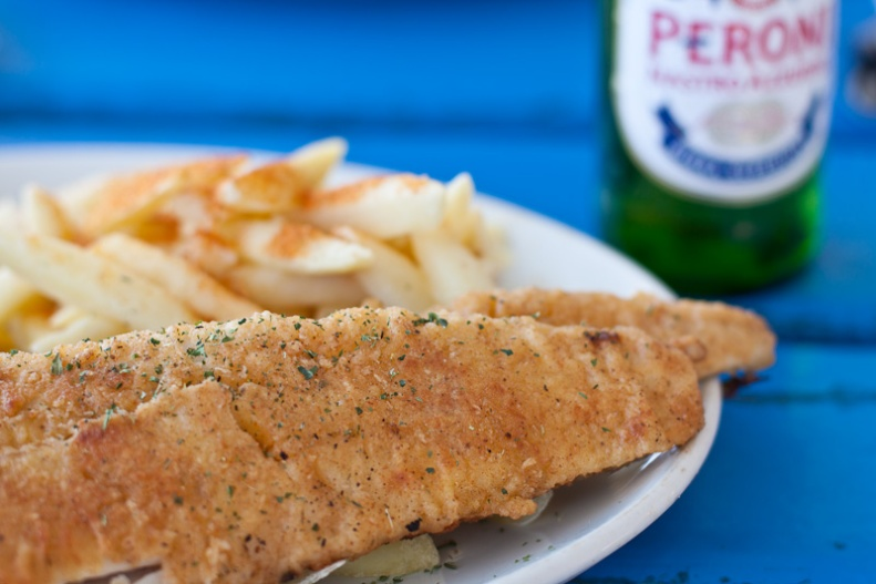 Fish & chips with Peroni beer