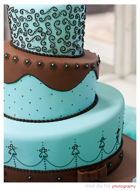 3 Tiered Engagement cake Turquoise and brown