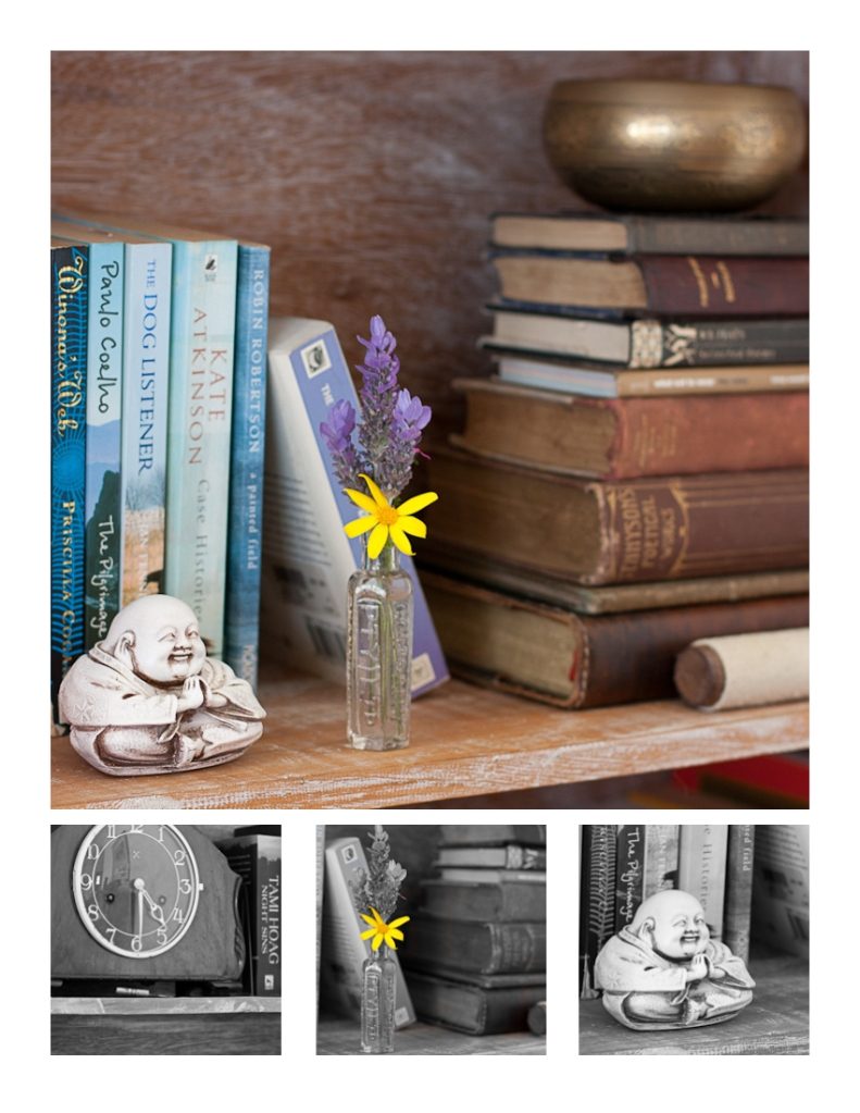 Bookshelf, flowers, buddha, books, clock, Tibetan Bowl