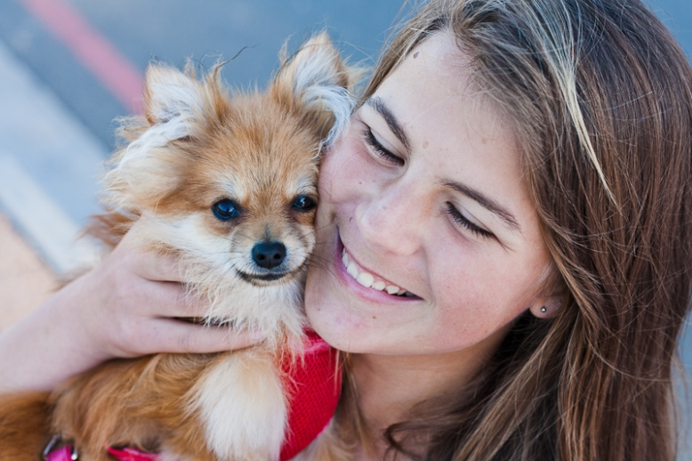 Girl and Toy Pomeranian dog
