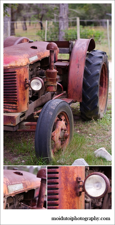 Old red tractor, Timberlake village, Sedgefield