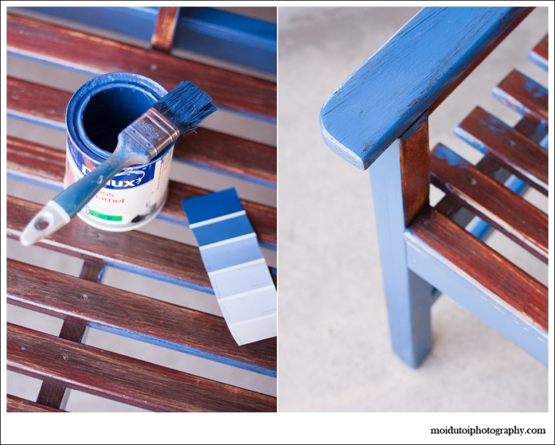 paintbrush &  tin of blue paint, painting, refurbishing old furniture