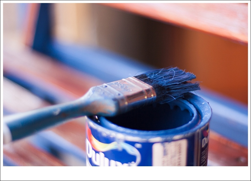 paintbrush and can, blue paint
