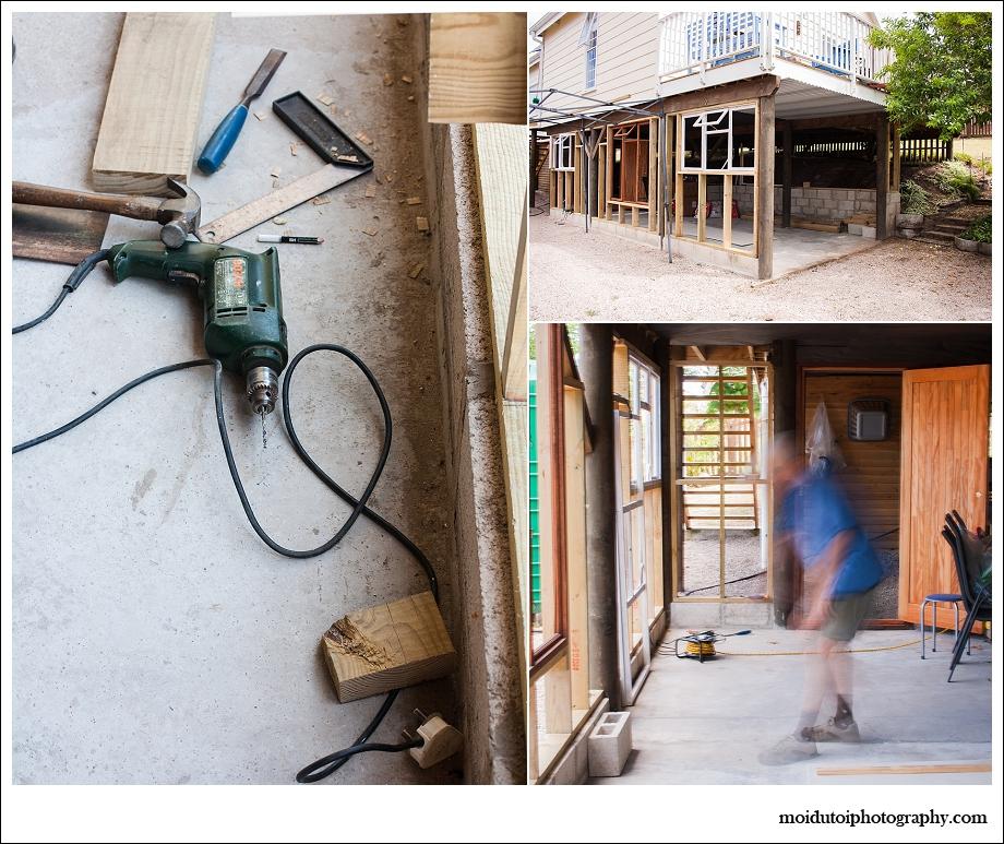 natural light, man building garage, woodwork