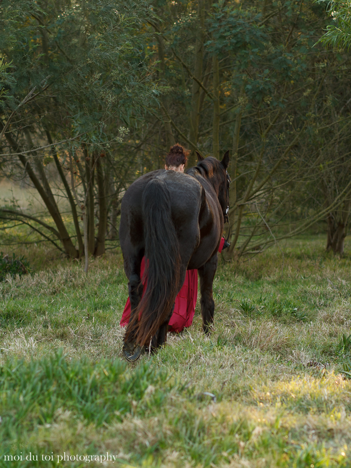 moi du toi photography Western Cape, friesian horse and lady with cloak