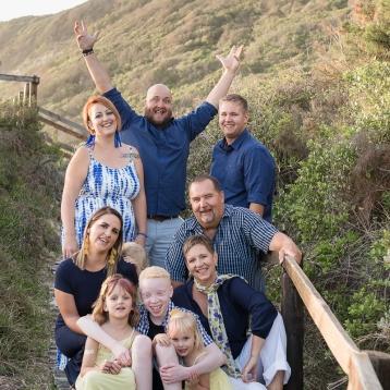 Large family group photo Sedgefield beach photoshoot