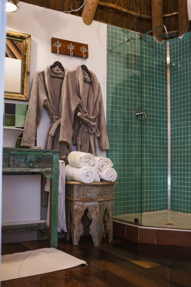 Luxury gowns in bathroom at Cola Beach guest house sedgefield