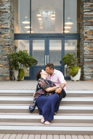 romantic image of couple kissing on steps
